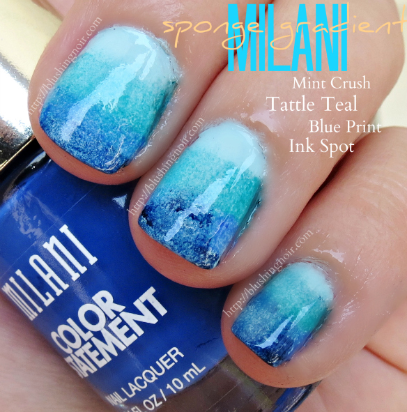 Milani Color Statement Nail Polish Blue Sponge Gradient Manicure